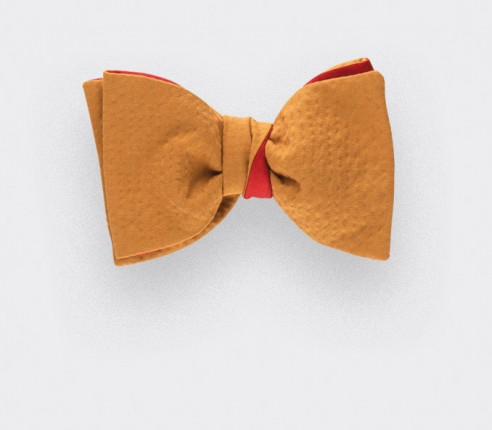 mustard seersucker bowtie - seersucker cotton and silk - cinabre paris