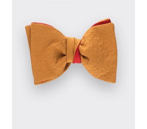 mustard seersucker bowtie - seersucker cotton and silk - cinabre paris