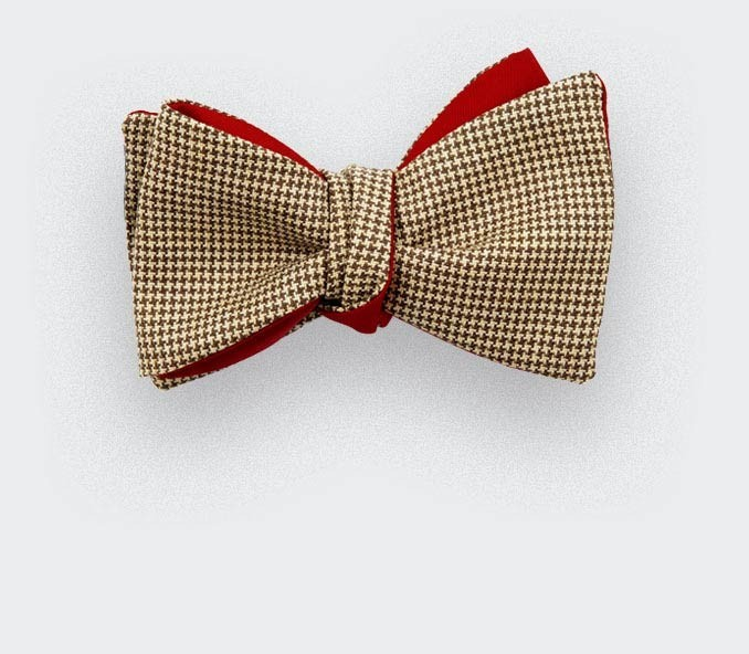 mustard houndstooth bow tie - wool and silk - cinabre paris