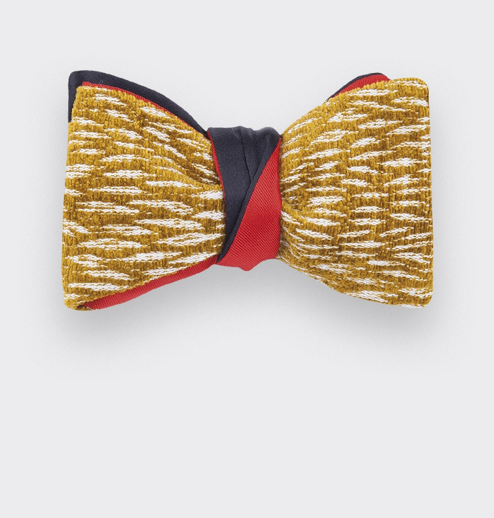 noeud papillon pierre frey moutarde - soie et coton - cinabre paris
