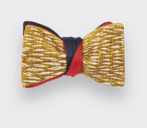 mustard pierre fey bow tie - silk and wool - cinabre paris