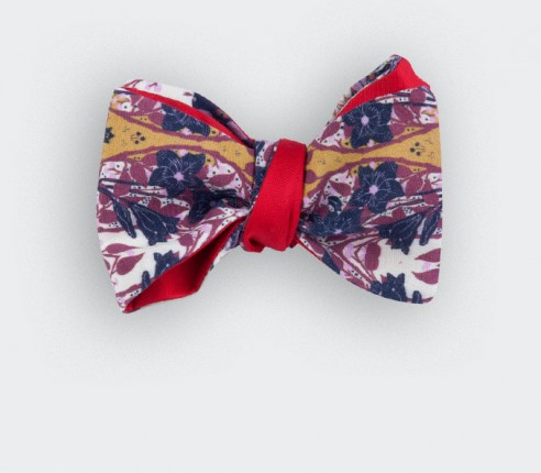 indian mustard bow tie - cotton and silk - cinabre paris