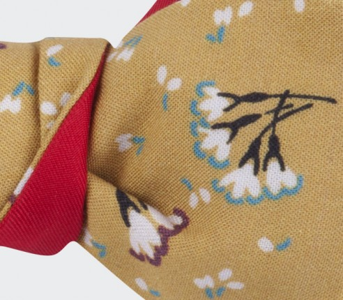 liberty mustard bow tie - cotton and silk - cinabre paris