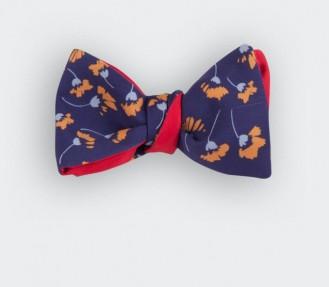 noeud papillon fleuri moutarde - soie - cinabre paris