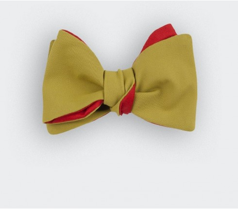mustard canvas bow tie -  cotton and silk - cinabre paris