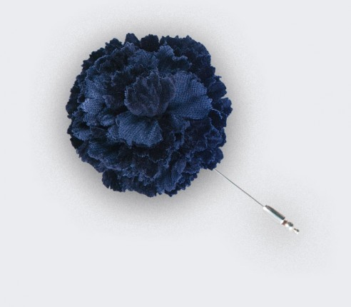 blue velvet flower lapel pin - cotton - cinabre paris