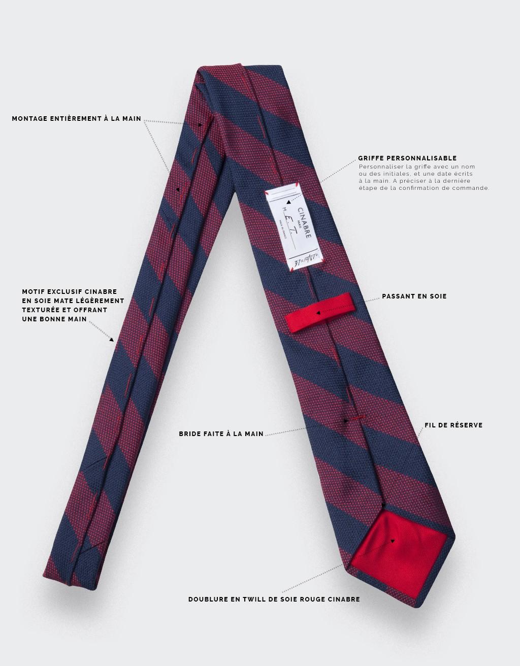 cravate club cinabre rouge - soie - cinabre paris