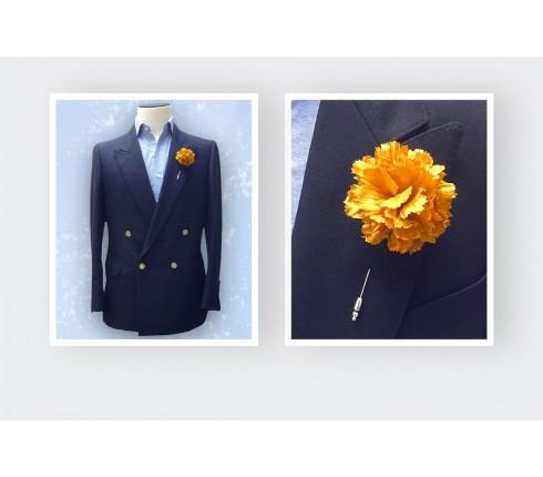 Boutonnière pour costume Soie or - Cinabre Paris