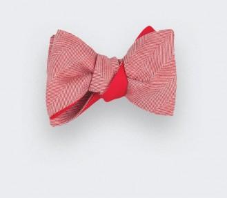 red herringbone bowtie - wool and silk - cinabre paris