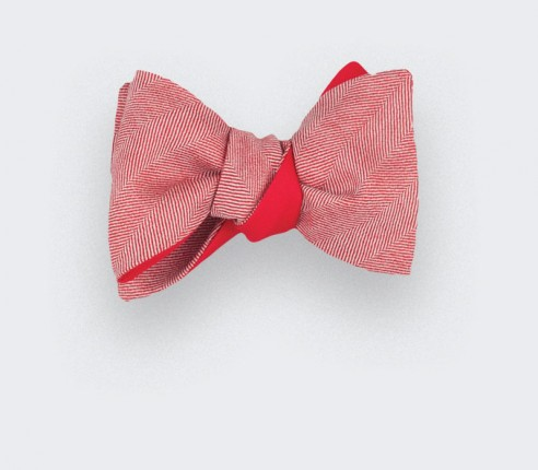 red herringbone bowtie - wool and silk - cinabre paris