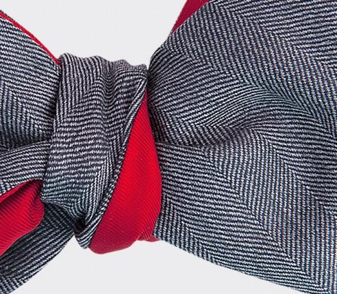 nœud papillon chevron tarmac - laine et soie - cinabre paris