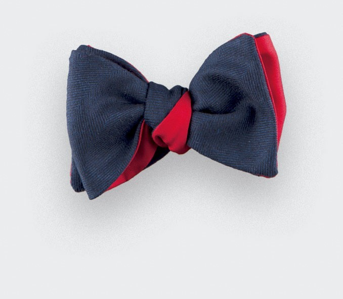 navy blue herringbone bow tie - wool and silk - cinabre paris