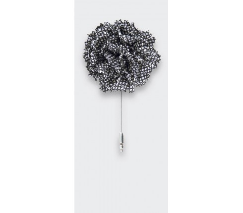 black and white caviar flower lapel pin - wool - cinabre paris