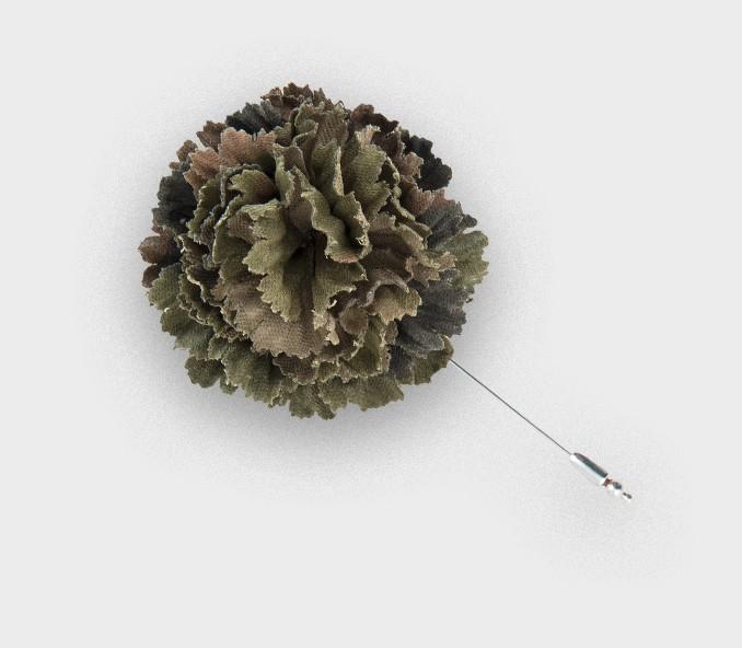 Camouflage flower lapel pin - vintage coton - cinabre paris