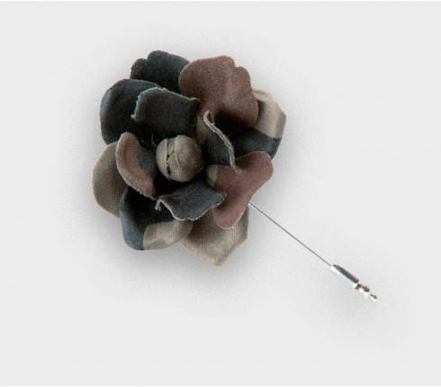 Camouflage flower lapel pin S - vintage coton - cinabre paris