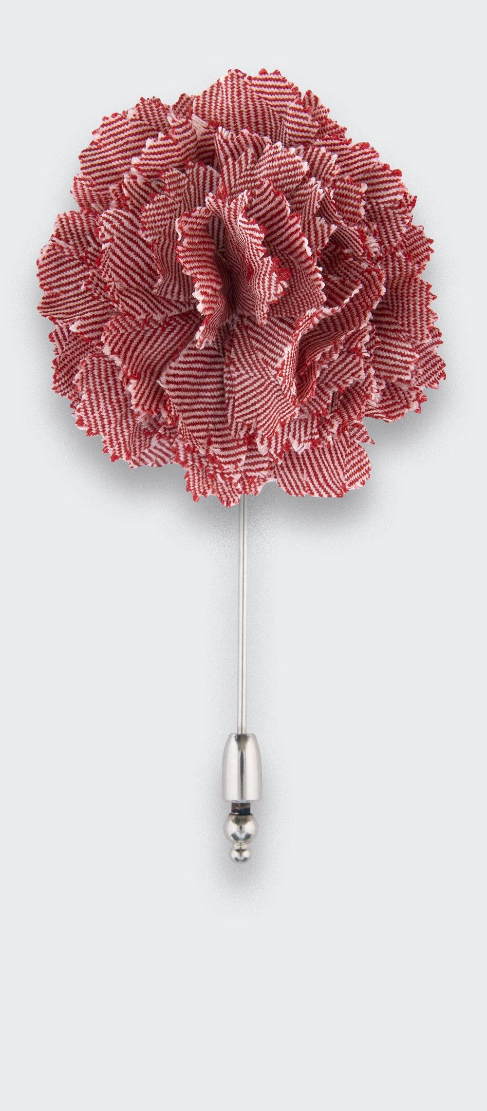 boutonnière costume chevron rouge - oeillet laine - cinabre paris