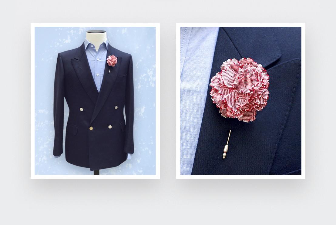 boutonniere red herringbone - flower lapel pin wool - cinabre paris
