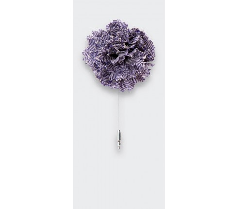 flower lapel pin purple herringbone - wool boutonniere - cinabre paris