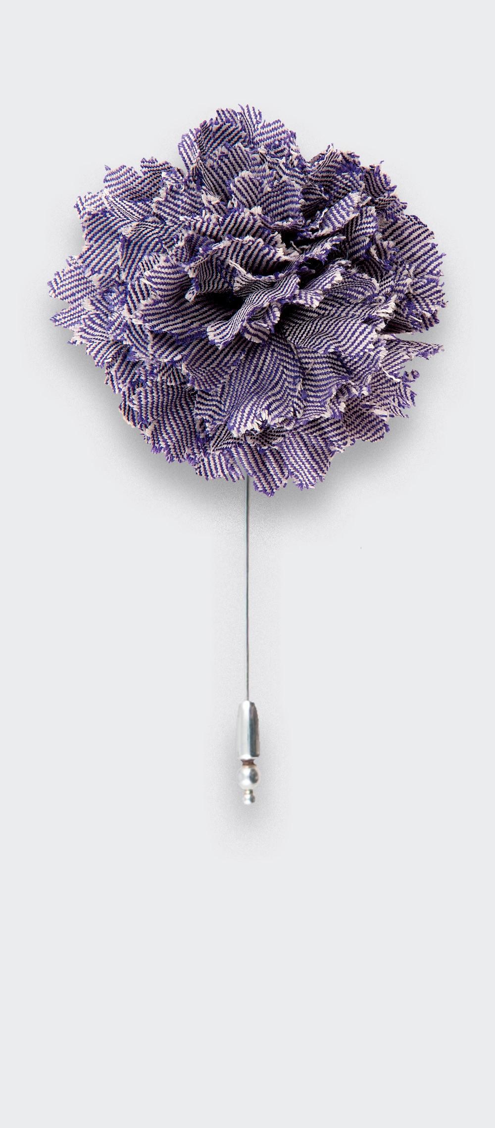 flower lapel pin purple herringbone - wool boutonniere - cinabre paris