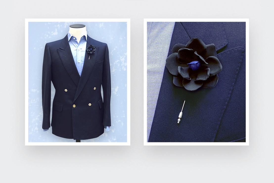 black leather flower lapel pin - leather - cinabre paris