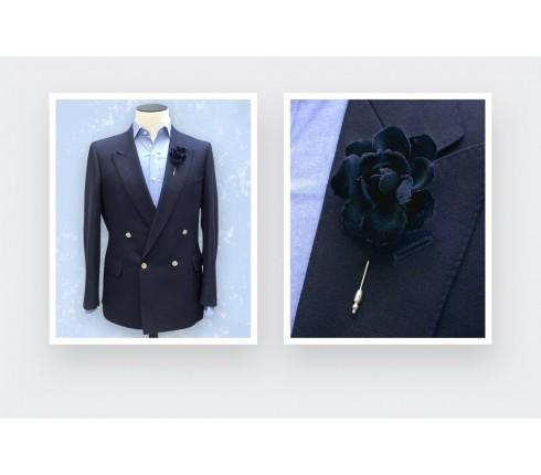 boutonnière costume velours noir - gardenia coton - cinabre paris