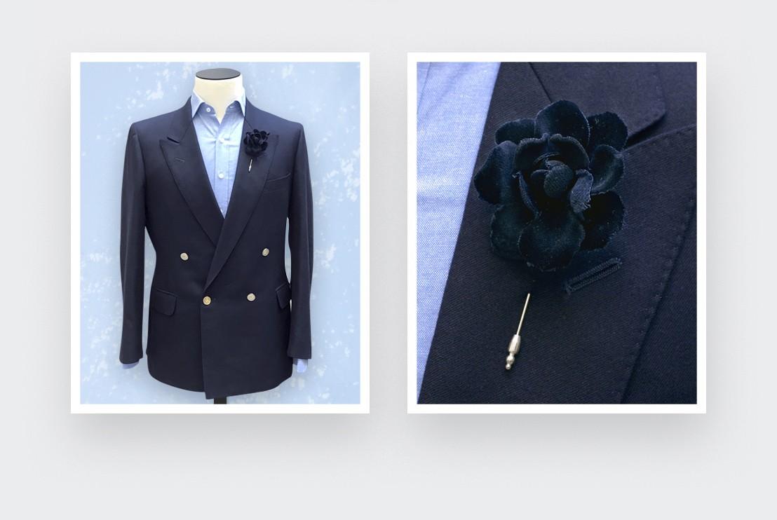 Black Velvet Gardenia Lapel Pin - Cinabre Paris