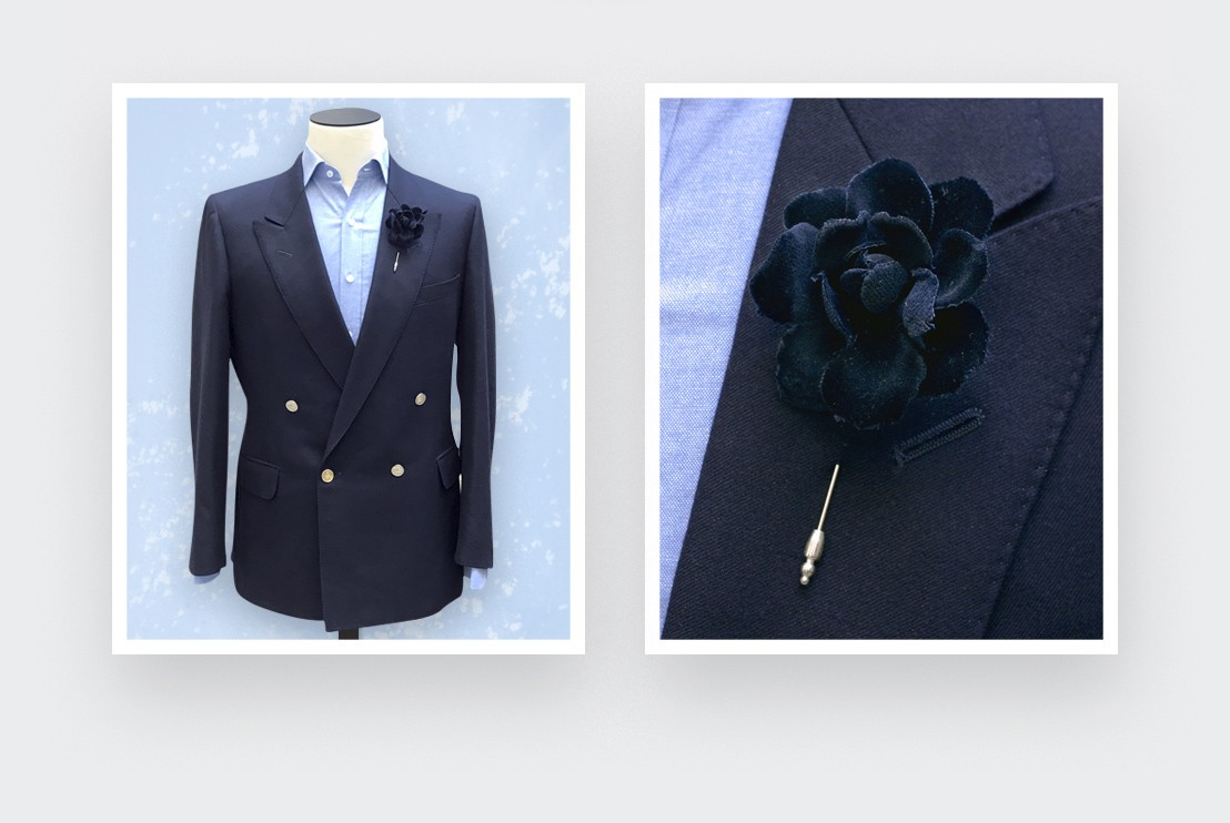 flower lapel pin black velvet- cotton boutonniere - cinabre paris