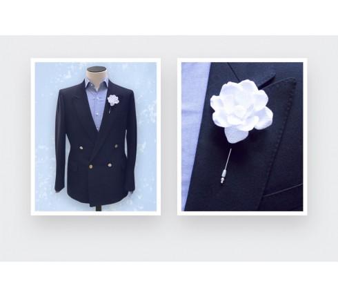 Flower lapel pin White Gardenia S Nid d'Abeille - Cinabre Paris