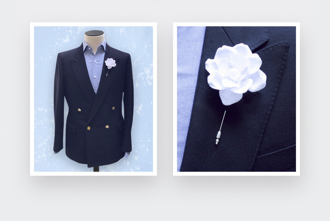 Flower lapel pin White Gardenia Nid d'Abeille - Cinabre Paris
