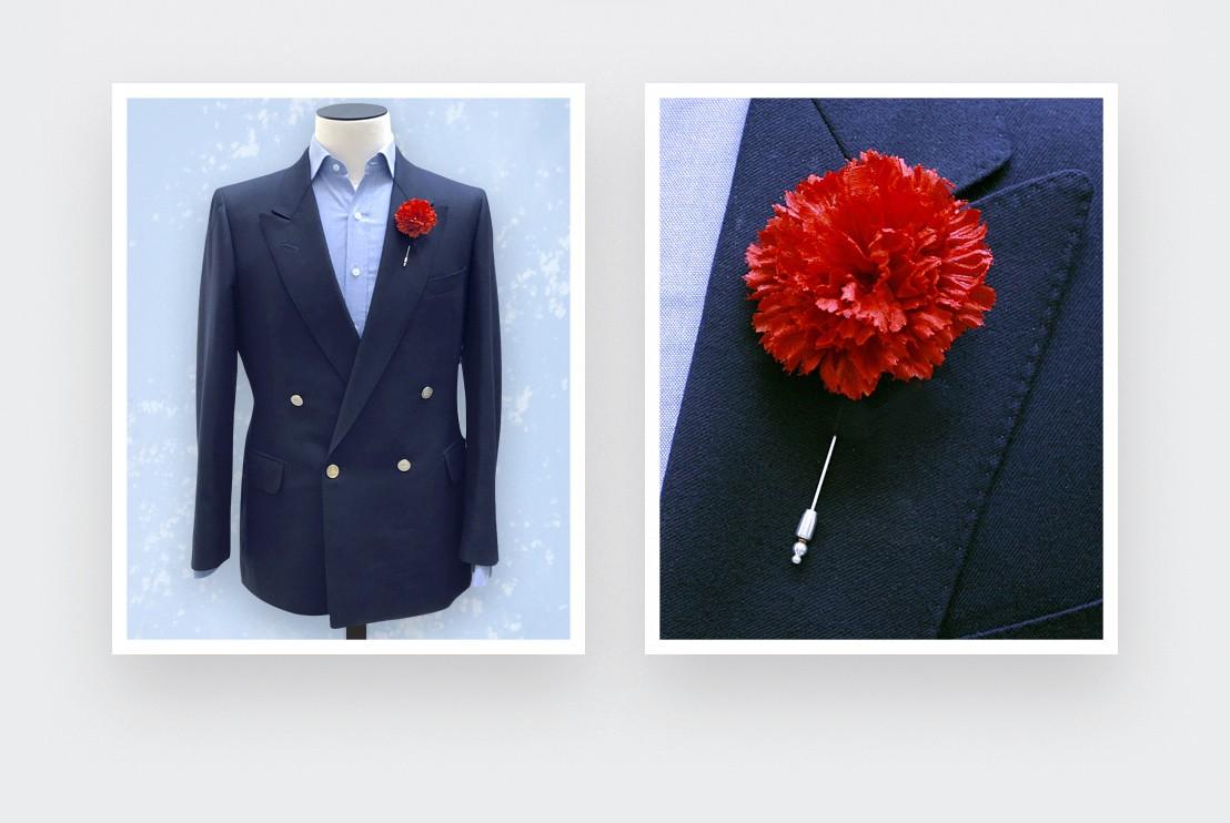 Boutonnière pour costume Soie Rouge -  Cinabre Paris