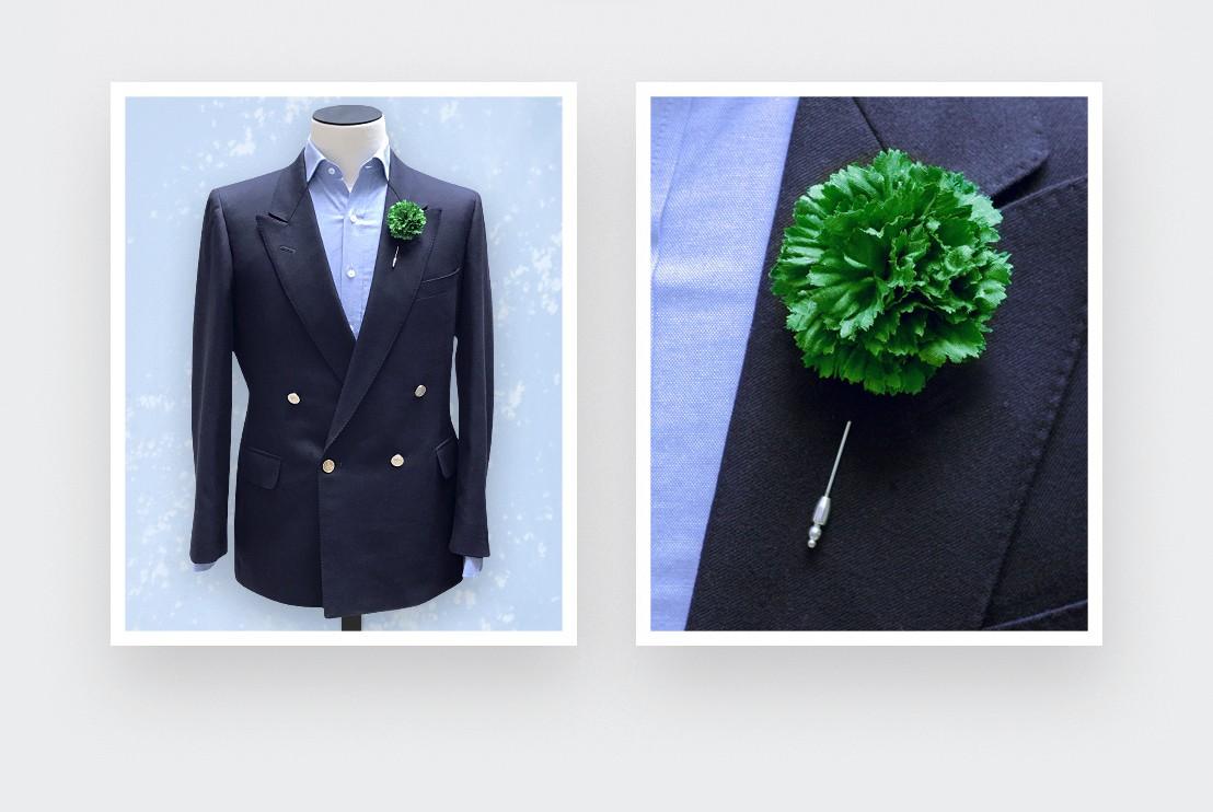 Boutonnière pour costume Soie Verte - Cinabre Paris