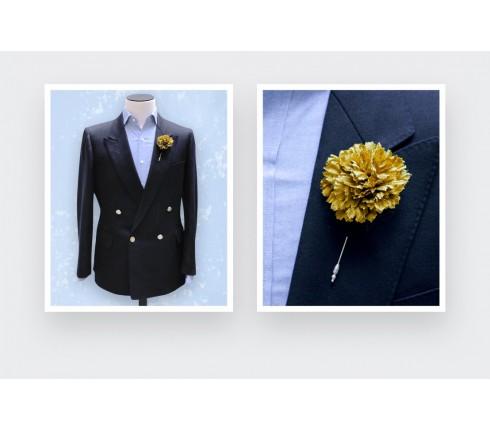 Boutonnière pour costume Soie Jaune - Cinabre Paris