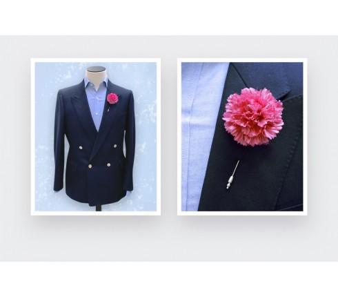 Flower Label Pin - Soie Rose - Cinabre Paris
