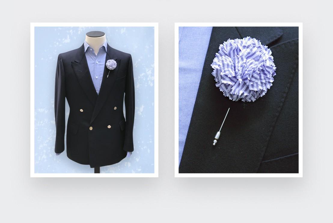 boutonniere costume seersucker - oeillet coton - cinabre paris