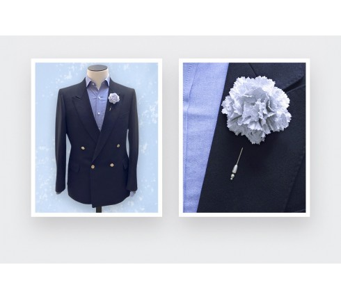 flower lapel pin silver - boutonniere cotton and lurex - cinabre paris