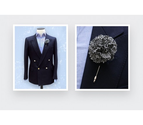 black and white caviar flower lapel pin - wool - cinabre paris