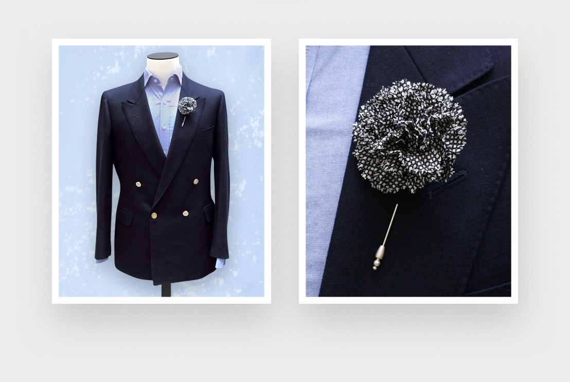 Black and White Birdseye Flower Lapel Pin Cinabre kk89H