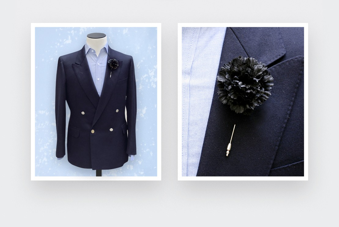 flower lapel pin black silk - boutonniere silk - cinabre paris