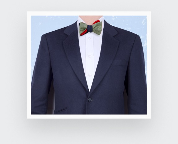 bow tie green parisian - silk wool - Cinabre Paris