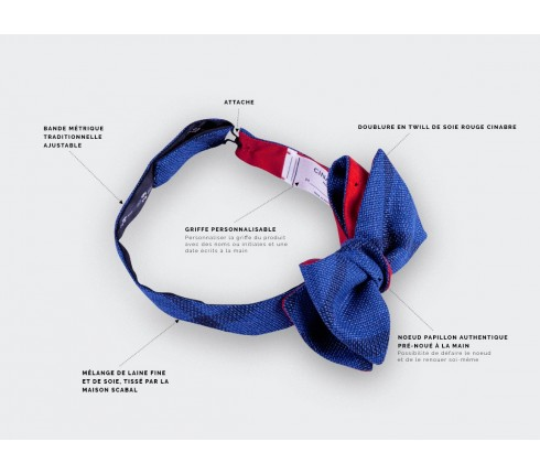 Sperone Blue Bow Tie - wool and silk - Cinabre Paris