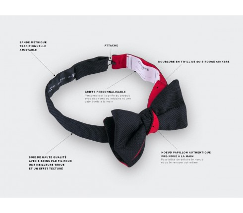 Black Woven Silk bow tie - silk - handmade in France by CINABRE Paris
