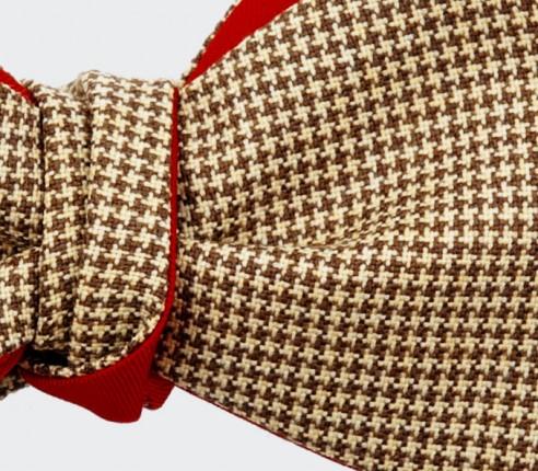 nœud papillon pied de poule moutarde - laine et soie - cinabre paris