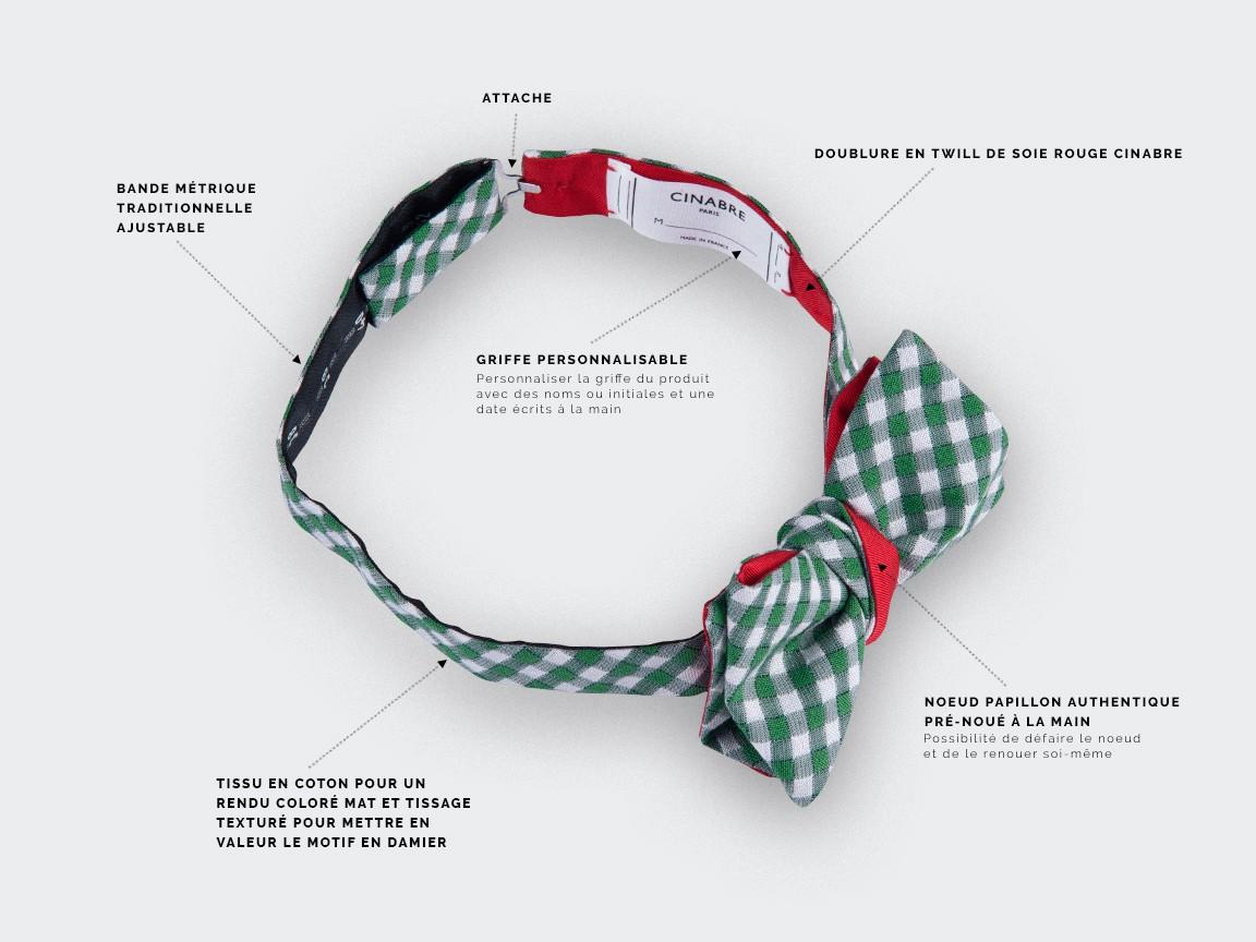 bow tie green Vichy - silk and cotton - CINABRE Paris