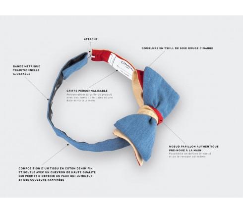 Nœud Papillon Denim Jaune - coton et laine - Cinabre Paris