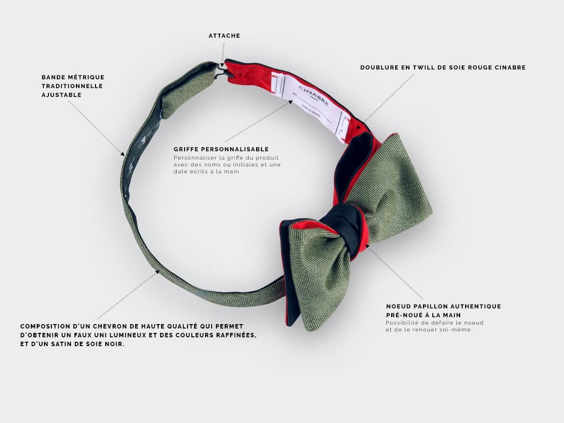 bow tie green parisian - silk wool - Cinabre Paris