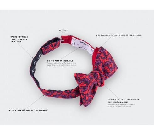 red flower bow tie - cotton - cinabre paris