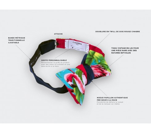 flamingo bow tie - cotton and silk - cinabre paris