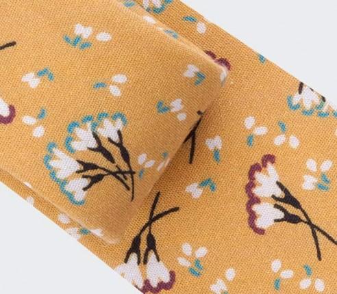 Cravate Fleurie Moutarde - coton - cinabre paris