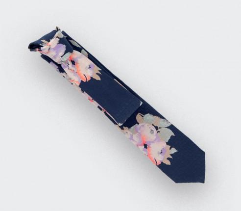 Cravate Floral marine - soie - Cinabre Paris