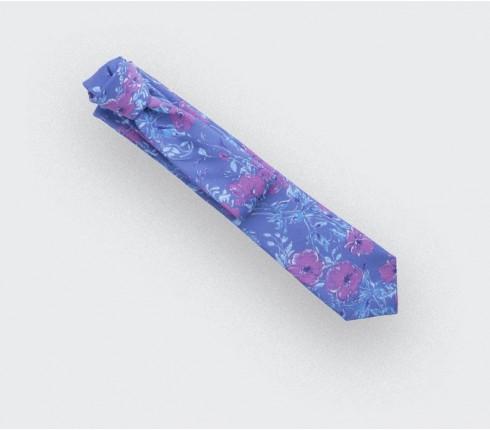 Cravate floral lavande - laine - cinabre paris